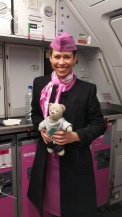 Our super nice flight attendant in Iceland