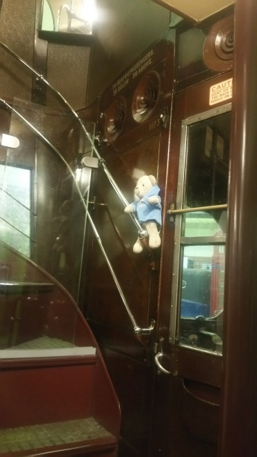 Sneaking up to the top level of the bus